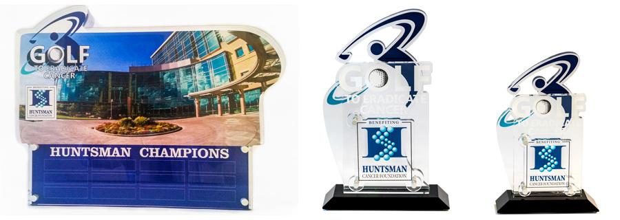 Huntsman Cancer golf trophies